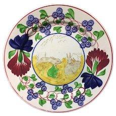 c 1900 ~ Stick Spatter Spongeware Rabbitware Ironstone Plate ~ Virginia Rose