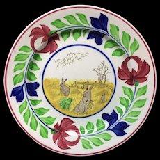 c 1900 ~ Stick Spatter Spongeware Rabbitware Ironstone Plate ~ Adams Rose