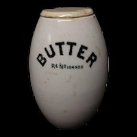 English Ironstone Oval PURE BUTTER Barrel Dairy Shop Tub 1891