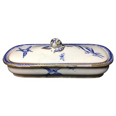 English Blue Transferware Razor Box ~ Alsace ~ 1875