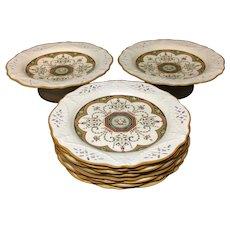 Eight Brown Transferware Incised Plates & 2 Tazzas ~ Cherub 1873