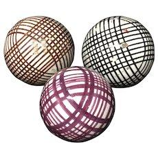 Three Victorian Ceramic Scottish Carpet Balls Boule Bowl 1860