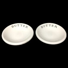 Pair of English Ironstone BUTTER Dairy Chips Pats c1937