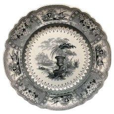 1840 ~ Black Staffordshire Large Transferware Plate ~ CANOVA