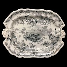 1820 ~ Rare Early Staffordshire Handled Platter ~ LEOPARD Zoological Sketches