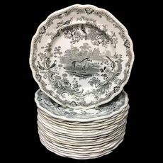 16 ~ Zoological Sketches Dinner Staffordshire Plates ~ ZEBRA 1820