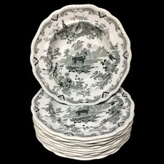 Ten Staffordshire Zoological Sketches Soup Plates ~ GAZELLE 1820