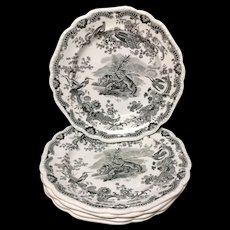 Six Zoological Sketches Transferware Plates ~ Lemur Racoon 1820