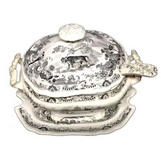 1820 ~ Staffordshire Sauce Tureen Ladle  ~ Leopard + Fox + Sheep ~ Zoological Sketches