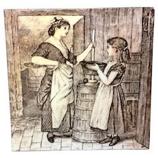 William Wise Country Life Tile ~ Making Butter 1882