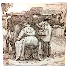 William Wise Country Life Tile ~ Cows Milkmaid Farm 1882