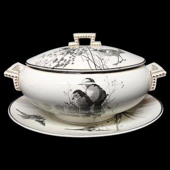 RARE Brown Staffordshire ORNITHOLOGY Soup Tureen & Platter ~ 1870
