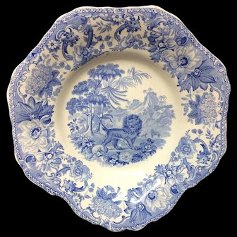 Blue Staffordshire Fox and the Lion Plate ~ Aesop's Fables 1835