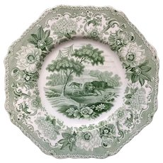 Staffordshire Plate Lion & Fox & Bear ~ Aesop's Fables 1835