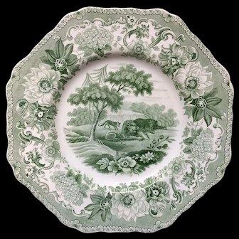 Staffordshire Plate Lion & Fox & Bear ~ Aesop's Fables 1835