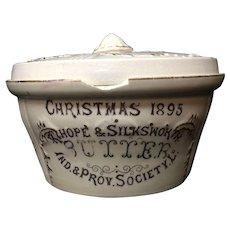 English Earthenware PURE BUTTER Christmas Tub 1895
