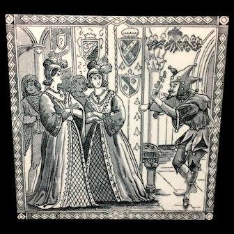 Antique CINDERELLA Black Victorian Tile ~ 1880