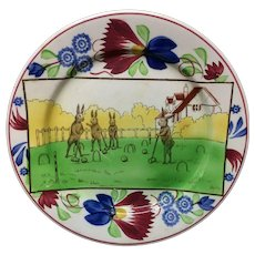 c 1900 ~ Stick Spatter Anthropomorphized Rabbitware Rabbit Plate ~ CROQUET