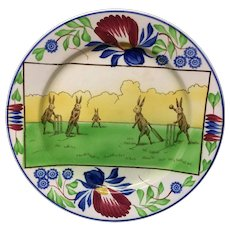 c 1900 ~ Stick Spatter Anthropomorphized Rabbitware Rabbit Plate ~ CRICKET
