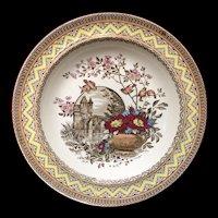 Antique Aesthetic Brown Transferware Soup Porridge Bowl Plate ~ Edinburg 1882