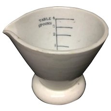 White Earthenware Kitchen Kitchenalia Measuring Cup ~ 19th Century