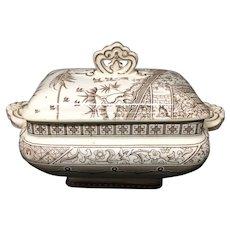 Victorian English Transferware Sauce Tureen ~ MELBOURNE 1883