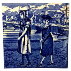 1879 ~ Dark Blue Tile ~ Wedgwood ~ JULY ~ Children at the Sea