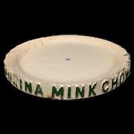 Antique Vintage Stoneware MINK CHOW Feeding Tray