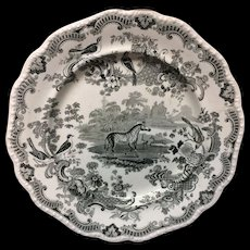 Zoological Sketches Pearlware Staffordshire Plate ~ ZEBRA 1820