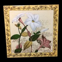 Victorian Brown Transferware Polychrome Tile ~ 1885