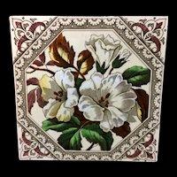 English Brown Transferware Tile ~ Alstermeria Earthy Flowers 1885