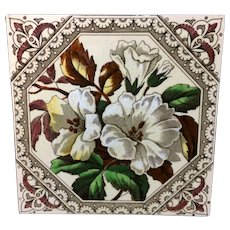 English Brown Transferware Tile ~ Alstermeria Earthy Flowers 1885
