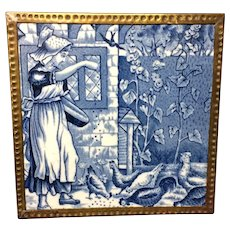 Dark Blue Tile ~ Wedgwood Months ~ AUGUST ~ Feeding Chickens ~ 1879