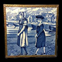 1879 ~ Dark Blue Tile ~ Wedgwood Months ~ JULY ~ Children at the Sea