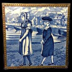 1879 ~ Dark Blue Tile ~ Wedgwood Months ~ JULY ~ Children at the Sea