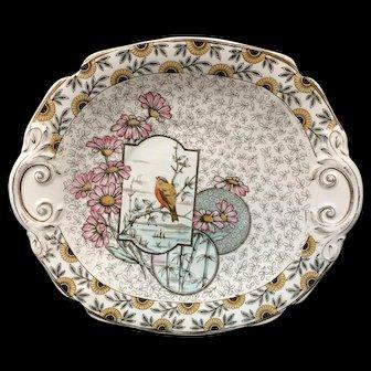 Nature Aesthetic BI-COLOR Transferware Cake Plate ~ INDUS 1885