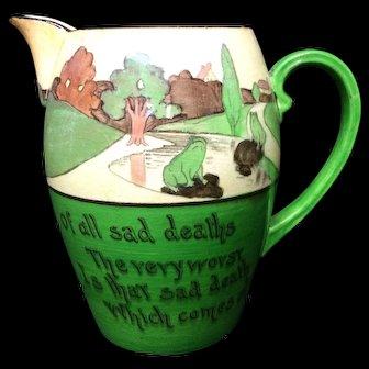 Rare Staffordshire St Augustine Rabbitware Frogs Pitcher Jug c1900