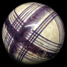 Victorian Ceramic Purple Striped Scottish Carpet Ball