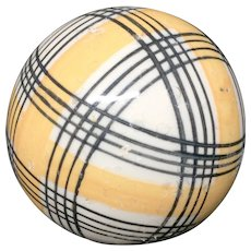 Victorian Golden Yellow Striped Scottish Carpet Ball