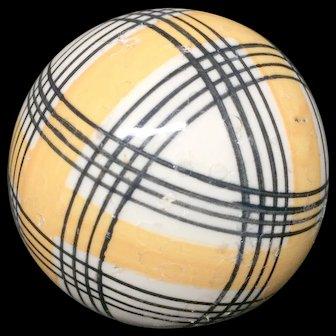 Victorian Golden Yellow Striped Scottish Carpet Ball