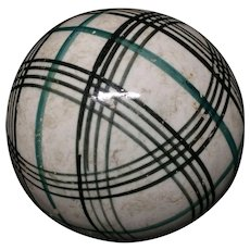 Victorian Green & Black Striped Scottish Carpet Ball