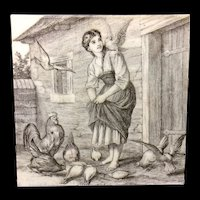 William Wise Country Life Tile ~ Feeding Chickens 1882