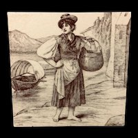 Signed Minton Tile ~ Wm Wise Farm ~ Fishmonger 1879