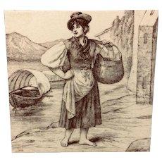 Signed Minton Tile ~ Wm Wise Farm ~ Fishmonger 1879