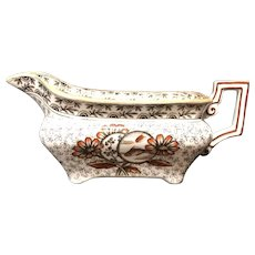 Victorian Polychrome Transfer Sauce Boat ~ DEVONSHIRE 1884
