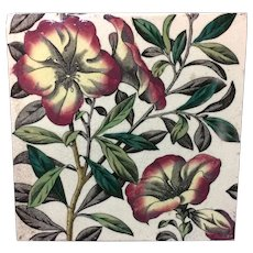 English Brown Transferware Tile ~ Tropical Flowers 1885