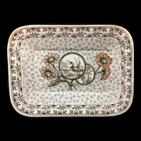 Brown Transferware LOON Tray Platter ~ DEVONSHIRE 1884