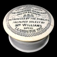 1850 ~ Mrs. Williams  Nutritive Cream for the Hair Baldness 1860
