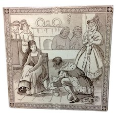 Victorian Malkin Antique CINDERELLA Tile ~ Magic Slipper 1880