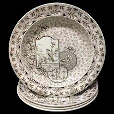 Three ~ Antique Victorian Brown Transferware Soup Plates ~ DEVONSHIRE 1885